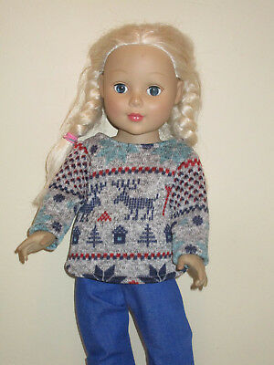 """Deer Heavyknit Sweater for 18"""" Doll Clothes American Girl"""