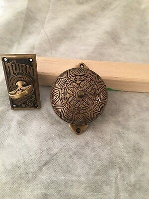 New Victorian Omate Brass Mechanical Doorbell & Twist
