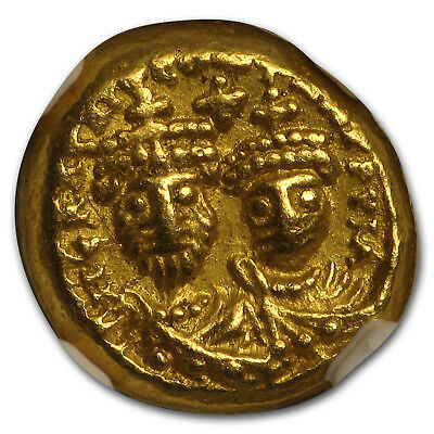 Byzantine Gold Solidus Emp. Heraclius & Her. (613-641 AD) AU NGC - SKU#179991