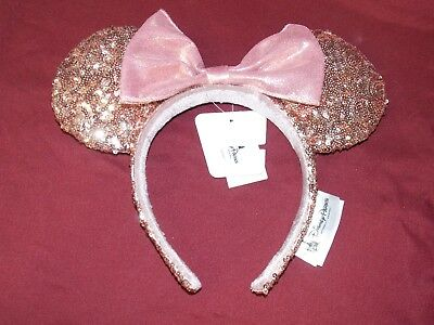 NEW AUTHENTIC Disney Parks Rose Gold Minnie Mouse Bow Sequins Ear Headband