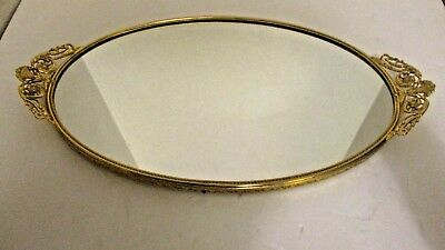 Gold Toned Oval Vintage Mirrored Vanity Tray
