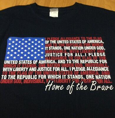 I pledge Allegiance to the Flag T-Shirt, Men's Size Large, Navy, Flag Design EUC