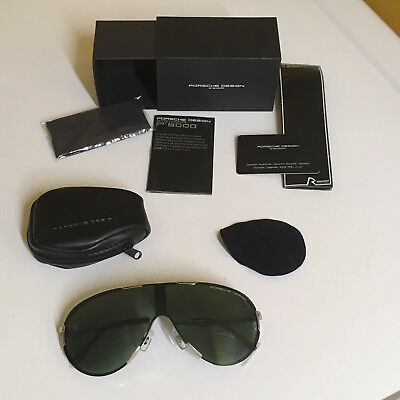 0d4d7627bebf Porsche Design P 8486 Folding Polished Silver chrome Sunglasses New In Box!  Nice