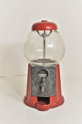 Vintage~Red Carousel Tabletop Gumball Machine~Cast Pot Metal & Glass Globe Bank