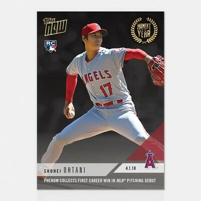2018 Topps Now #moy-3 Shohei Ohtani Collects 1St Career Win In Pitching Debut