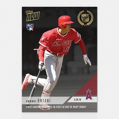 2018 Topps Now #moy-2 Shohei Ohtani 1St Career Hit Comes In 1St Mlb At-Bat