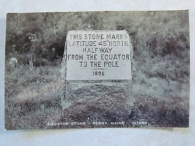 RPPC Stone, Halfway Between Equator, & North Pole, Perry, Maine, ME. Real Photo