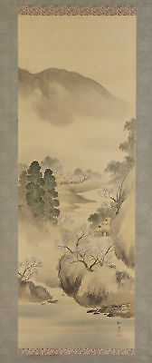 JAPANESE HANGING SCROLL ART Painting Scenery Asian antique  #E5263