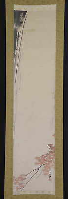 """JAPANESE HANGING SCROLL ART Painting Scenery """"Waterfall"""" Asian antique  #E5265"""