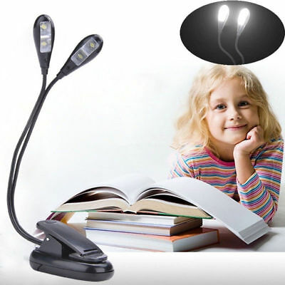 2 Dual Flexible Arms 4 LED Clip-on Light Lamp for Piano Music Stand Book EA