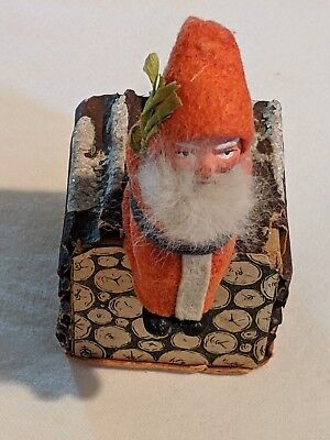 Vintage Christmas German Santa on Logs Candy Container