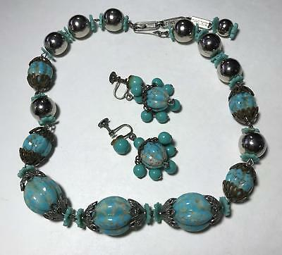 Vtg 3pc Venetian Robins Egg Blue Color Art Glass Beaded Strand Necklace Earrings