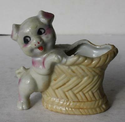 Pig-Basket Figure Toothpick Holder Hand Painted Ceramic-Porcelain Made in Japan
