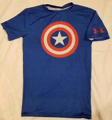 Marvel Captain America Under Armour 2013 Compression Heat Gear Blue Steve Rogers