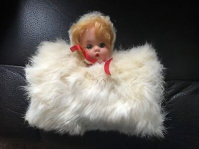 Vintage Childs Muff Doll Head White Rabbit Fur Blonde Hair & Hat 1950s