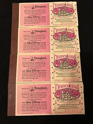 Disneyland Vintage Courtesy Guest Ticket Books. 4 Unused In Sequential Order.