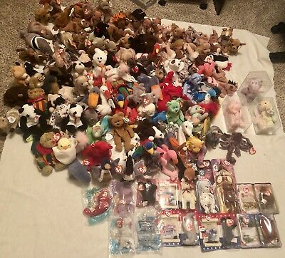 Ty Beanie Babies Huge Lot All Originals, With Tags. Retired Bears, Bunnies Hippo