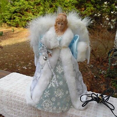 """Vtg. Angel tree topper, fiber optic~ blue and white outfit~ 12"""""""