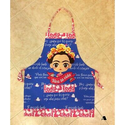 Frida Kahlo Mexican Apron Chef with a Pocket/ Peach/Red/Tiffany Color Pattern