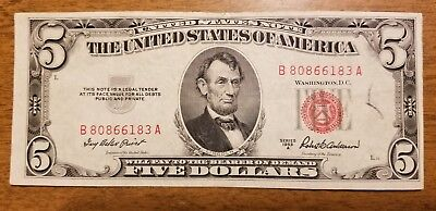 1953 A $5 Dollar Legal Tender Note Bill Red Seal 80866183