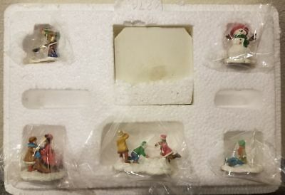 Hawthorne Village Christmas Figurine Set Thomas Kinkade Snowman Snow Day Angel !