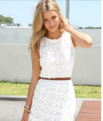 Elegant Women Summer Casual WHITE Party Evening Cocktail Lace Dress Sleeveless