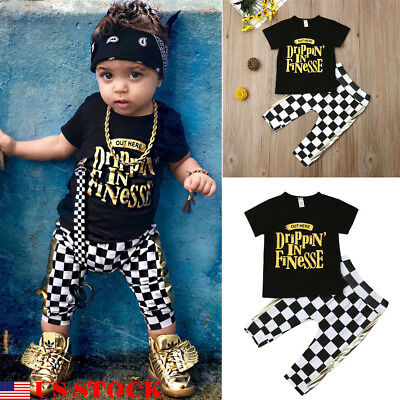 US 2PCS Fashion Infant Toddler Kids Baby Boy Shirt Top+Plaid Pant cotton clothes