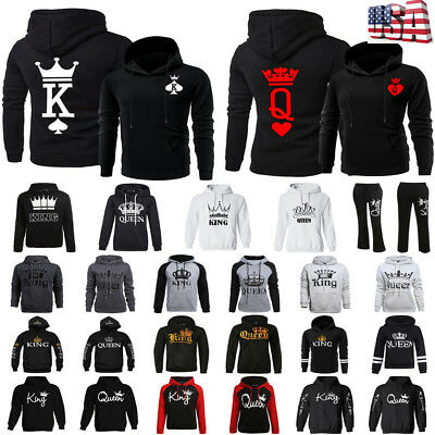 Fashion Matching Couple Hoodies King Queen Hooded Sweatshirt Pullover Coat Gift