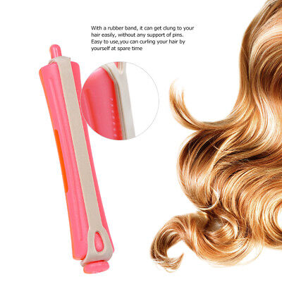12 Pieces Salon Cold Wave Rods Hair Roller With Rubber Band Curling Curler Y2V7