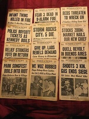 12 - Twelve New York Daily News Newspapers From 1960 To 1965