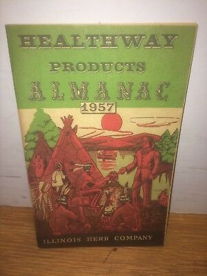 Healthway Products Almanac 1957 Illinois Herb Company  Indians on Cover — B101