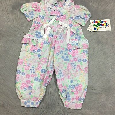NOS Vintage Baby Girls Pink White Floral Pastel Ribbon Ruffle Jumpsuit Romper