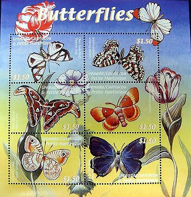 Butterfly Stamps Sheet 2000 Mnh Grenada Grenadines Butterflies Insect Moth
