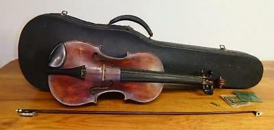 "Antique ""STENTOR 2"" Signed 3/4"" TIGER MAPLE VIOLIN w/Signed BOW & CASE ~"
