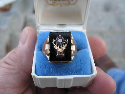 10K YELLOW GOLD ELKS LODGE VINTAGE RING ONYX  8.4 GRAMS size 9.25 mens