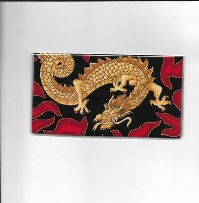 Dragon Checkbook Cover Red New  Fabric Flames New Item