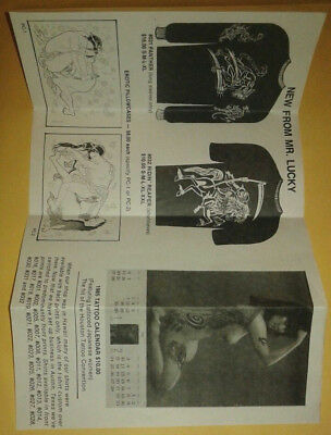 Vintage Tattoo Flash Flyer 1980's Mike Malone Mr. Lucky T Shirt Designs Shunga