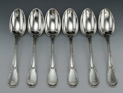 6 French 950 Sterling Silver Emile Puiforcat Oval Soup/Serving Spoons 8 1/4""