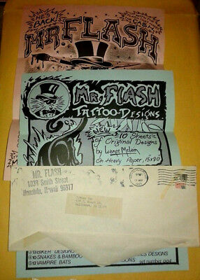 Vintage Tattoo Flash Flyer 1970's Mike Malone Mr. Lucky Tux Farrar Panther
