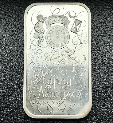 1974 Happy New Year 1 oz .999 Silver Art Bar 20,000 Minted Madison Mint (1143)