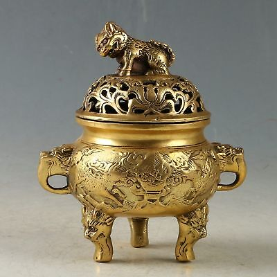 Chinese Brass Handwork Carved Beast Incense Burner W Xuande Mark CC1016