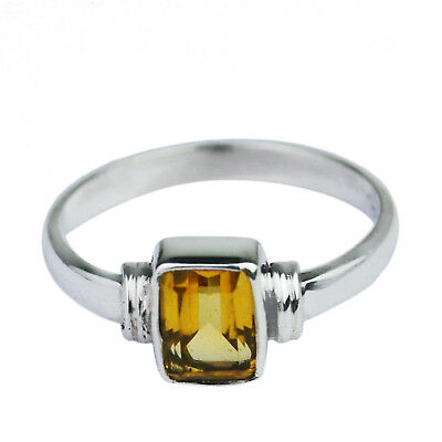 925 Sterling Silver gemstone citrine Semi-Mounted Rings Size 7 US 2.04g cci