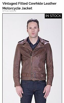 Schott Perfecto 626VN Leather Jacket Brown Rider Motorcycle Lined Fitted New$870