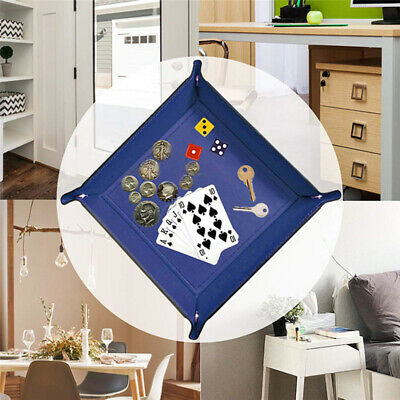 Dice Holder PU Leather Folding Rectangle Tray Blue for Table Board Game SO