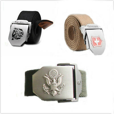Stainless Steel Buckle Casual Mens Durable Military Long Weave Canvas Web Belt