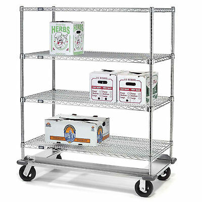 E-Z Adjust Wire Shelf Truck with Dolly Base, 60x24x70, 1600 Lb. Cap., Lot of 1