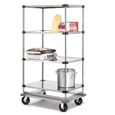 Stainless Steel Shelf Truck with Dolly Base, 36x18x93, 1600 Lb. Cap., Lot of 1