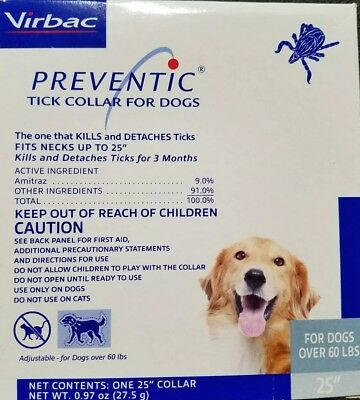 """Preventic tick  Collar for Dogs 25"""" Protects up to 3 Months over 60Lbs"""