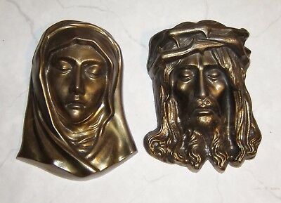 Metal Jesus Christ Mother Mary Cast Wall Sculpture Brass Plated old vintage