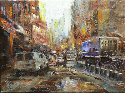 Contemporary Art/ Original Painting by American Artist M.hee / Cityscape